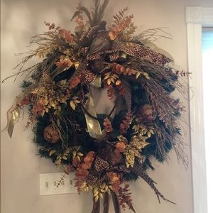 Huge designer fall wreath.2ft in size gold /brown